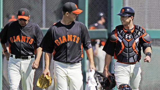 Matt Cain & Buster Posey report in 2013 - after their previous title